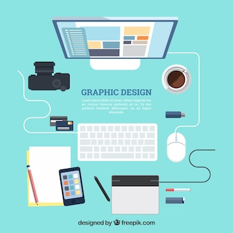 Graphic design workspace background in flat style