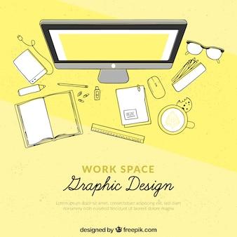 Graphic design workspace background in hand drawn style