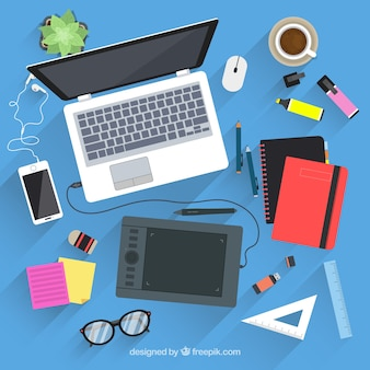 Graphic design workspace background in hand drawn style