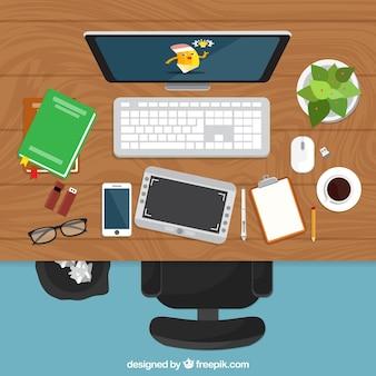 Графический дизайн рабочего пространства фон с столом и инструментами