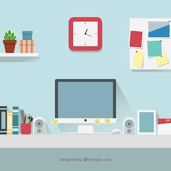 책상과 도구가있는 그래픽 디자인 작업 공간 배경