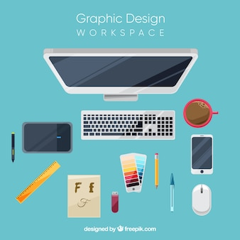 Graphic design workspace background with desk and tools