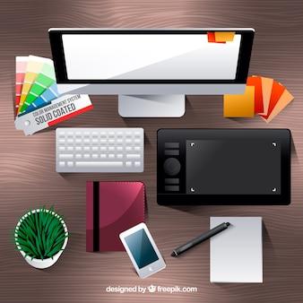 Graphic design workspace background