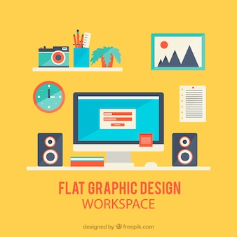 Рабочее пространство графического дизайна в плоском стиле