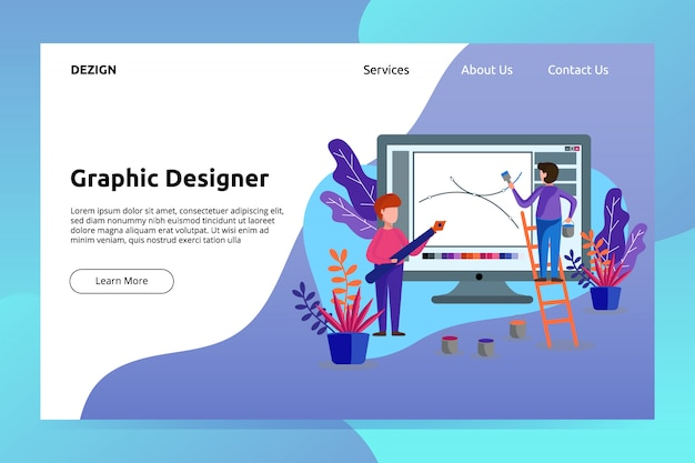 Graphic designer banner and landing page illustration