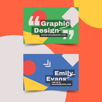 Graphic designer business card template with geometrical shapes