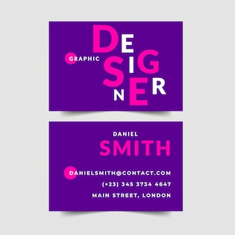 Graphic designer business card in violet shades