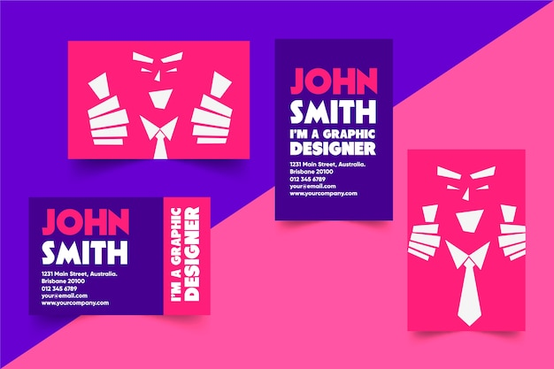 Graphic designer business card with face and tie