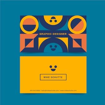 Graphic designer business card with smiley faces