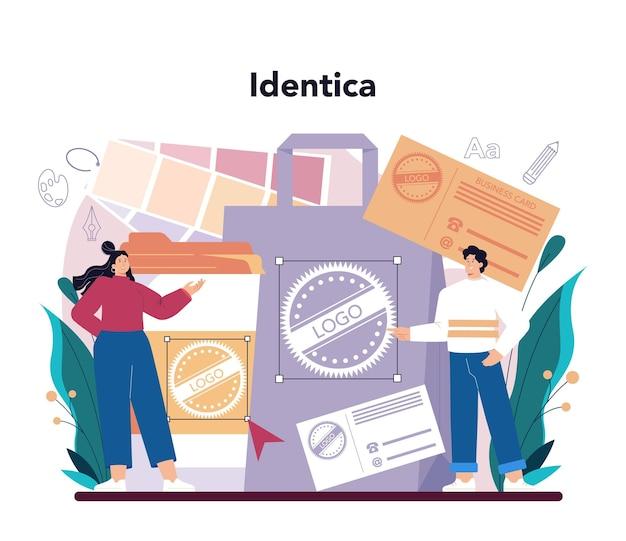 Graphic designer concept. digital artist creating brand design, business identica and advert illustration with electronic equipment. web banner development. flat illustration vector