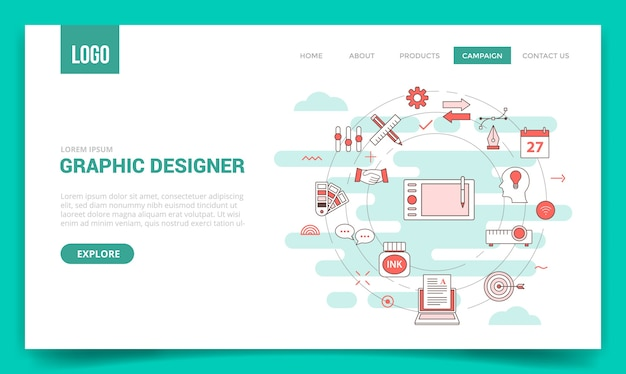 円のアイコンとグラフィックデザイナーの概念