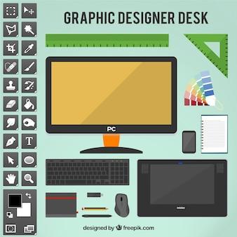 Графический дизайнер стол инструменты