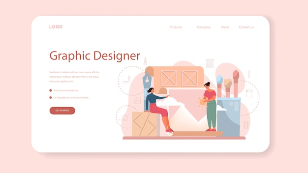 Graphic designer or digital illustrator web banner or landing page