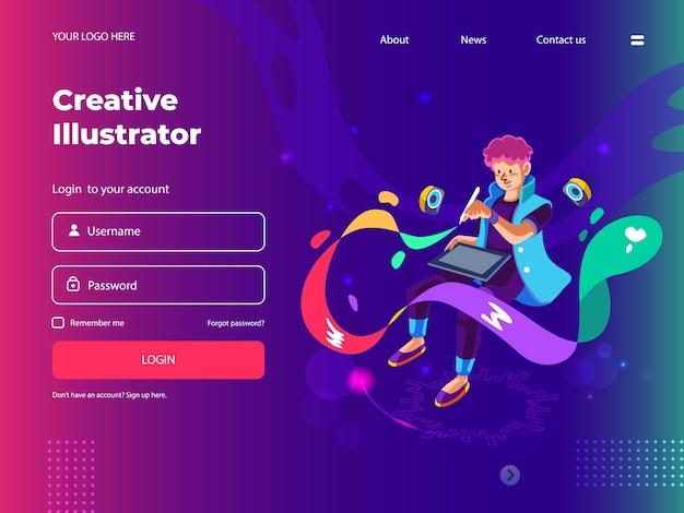 Графический дизайнер с цифровым пером для веб-страниц и целевой страницы