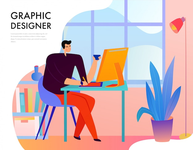 Graphic designer during creative work behind desk with computer on window  flat