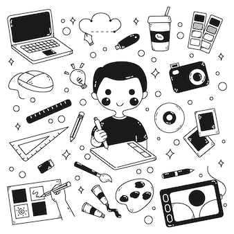 Graphic designer and equipment in doodle style