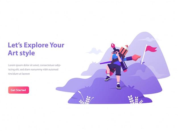 グラフィックデザイナーの探索コンセプトのランディングページ