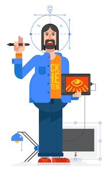 Graphic designer, flat style. vector.