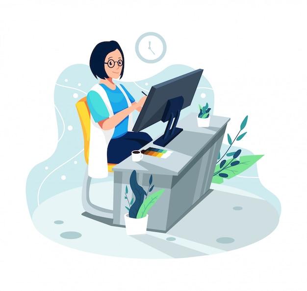 Graphic designer girl illustration