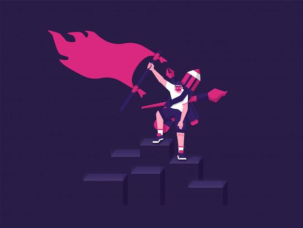 Графический дизайнер цели и достижения с концептуальной иллюстрацией темного режима