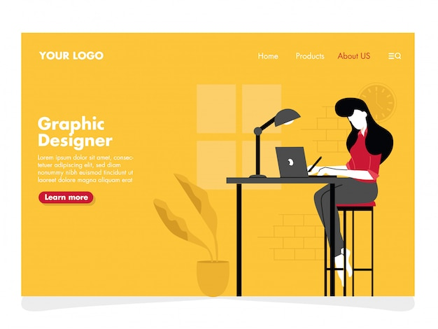 Graphic designer illustration for landing page