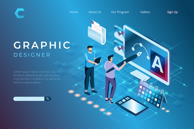 Graphic designer illustrations in working on projects, designing artwork in isometric 3d style