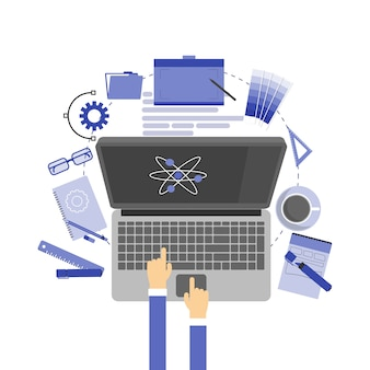 Graphic designer items and tools, office various objects and equipment illustration