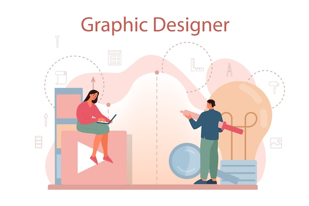 グラフィックデザイナーまたはデジタルイラストレーターのコンセプト
