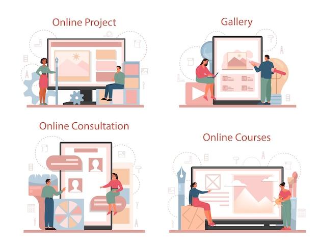 그래픽 디자이너 또는 디지털 일러스트 레이터 온라인 서비스 또는 플랫폼 세트.