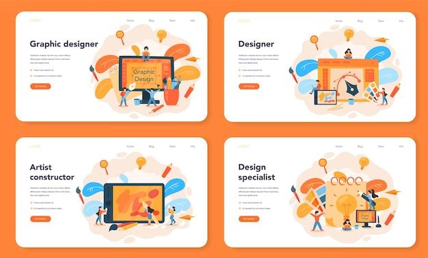 그래픽 디자이너 또는 디지털 일러스트 레이터 웹 배너 또는 방문 페이지 세트