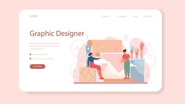 Графический дизайнер или цифровой иллюстратор веб-баннера или целевой страницы