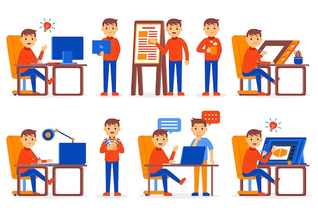 Graphic designer profession character set