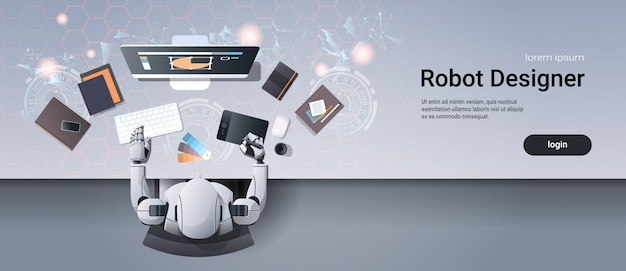 Graphic designer robot sitting at creative design workplace web template
