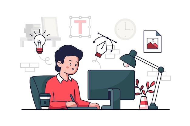 Графический дизайнер векторные иллюстрации