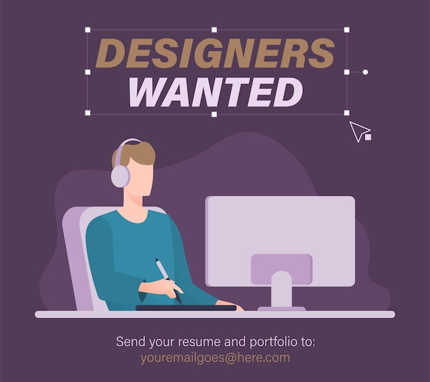 Graphic designer wanted. we are hiring concept