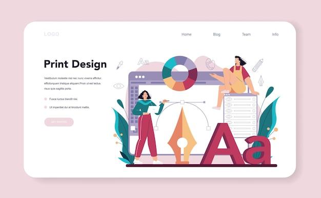Графический дизайнер веб-баннер или целевая страница цифровой художник, создающий бренд