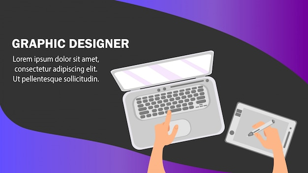 Graphic designer website banner vector template