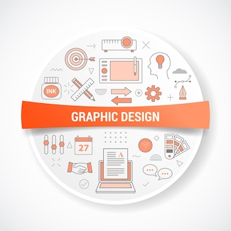 Graphic designer with icon concept with round or circle shape