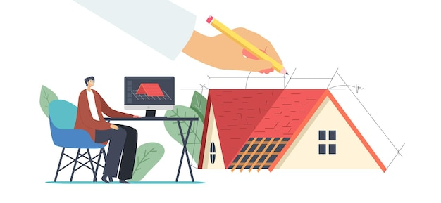 Graphic designer working on computer in engineering program create 3d model of roof for client, engineer female character projecting roof design for cottage house. cartoon people vector illustration