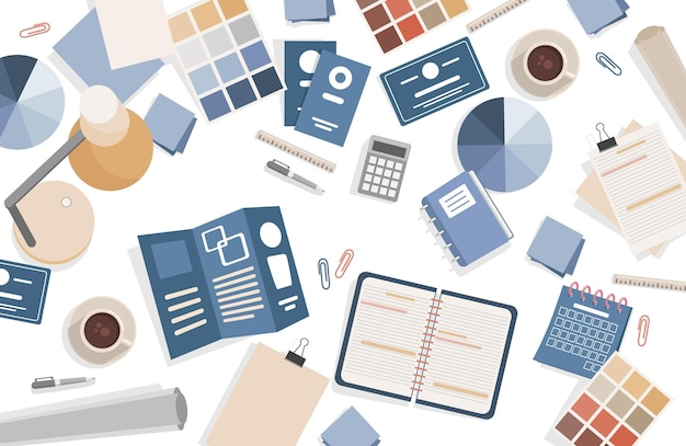 Graphic designer working table vector flat top view illustration creative