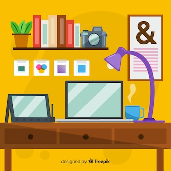Graphic designer workplace background