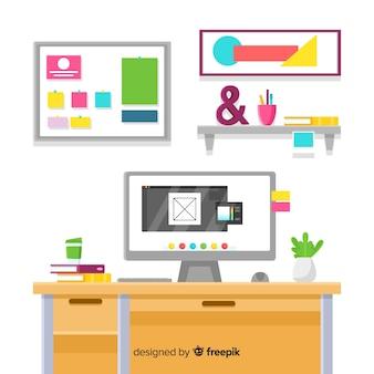 Graphic designer workplace in flat design