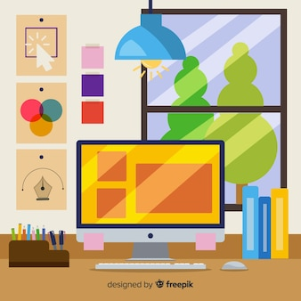 Graphic designer workplace illustration