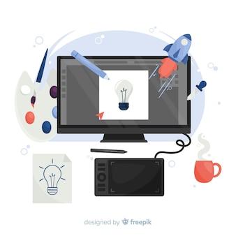 Рабочее место графического дизайнера в плоском дизайне