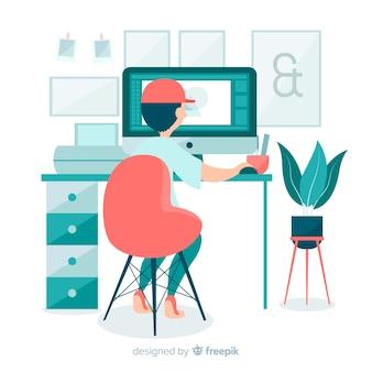 Graphic designer workplace