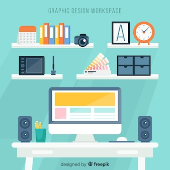 Graphic designer workspace background