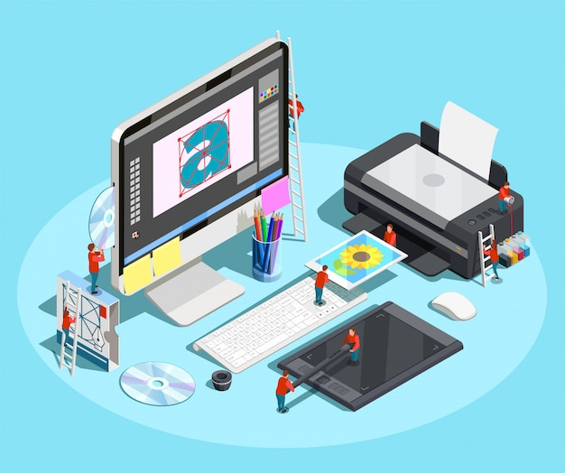Graphic designer workspace concept