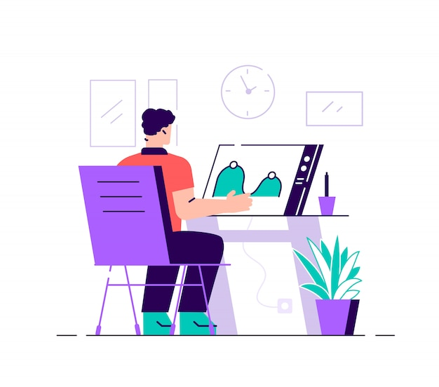 Graphic designers at computer screen creating and uploading video. motion graphic design, video production service, motion designer work concept. bright vibrant violet vector isolated illustration