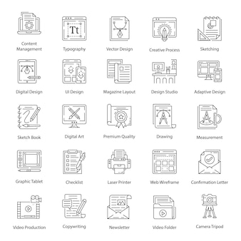 Graphic designing pack icons in line style