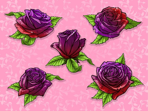 Graphic detailed cartoon rose bud vector set